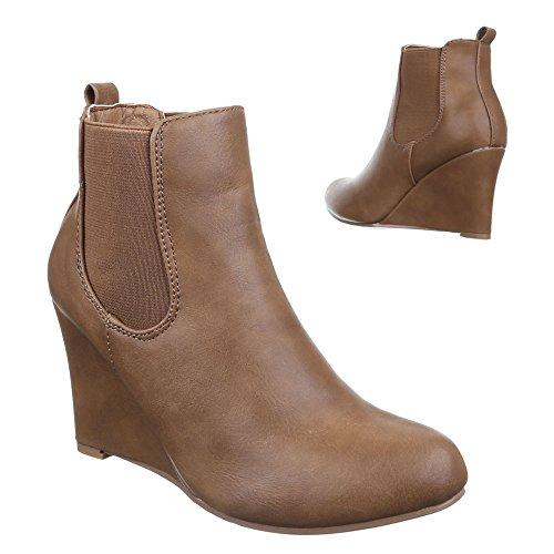 Ital-Design Damen Schuhe, C205, Stiefeletten Stretch Keil Wedges Hellbraun