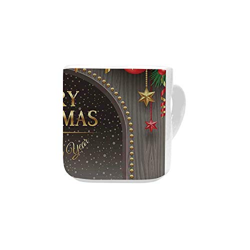Christmas Decorations White Heart Shaped Mug,Classic Rustic Design Season Greetings Golden Letters Village Ornaments for Home,2.56