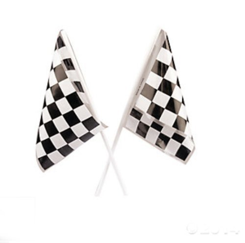 Lot of 24 Plastic Checkered Mini Racing Flags Race Party Favor (Flag Race Car)