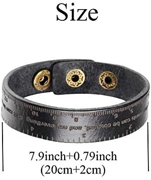 Brown H.ZBRUJ Unique Leather Bracelets for Boys Girls Adjustable Wristband Measuring Tape Cuff Bracelet for Birthday
