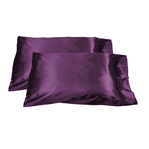(SET OF 2 SATIN PILLOWCASES / SHAM - STANDARD SIZE - CHOICE OF COLORS (Purple))