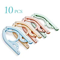 Christopher M Battaglia Travel Hangers,10 Pcs Portable Folding Clothes Hangers Travel Accessories Plastic Foldable Non-Slip Lightweight Clothes Drying Rack for Home and Travel (Colorful)