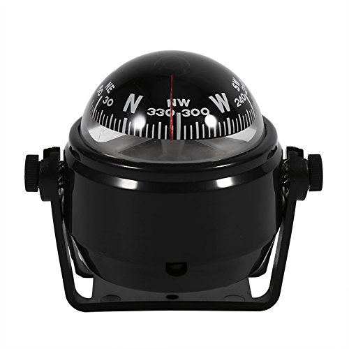Estink Car Mount Compass,Multi-functional Sea Marine Navigation Bracket Mount Compass Voyager Compass Outside Also Fits Boat Caravan Truck (Black) (Mount Dash Compass)