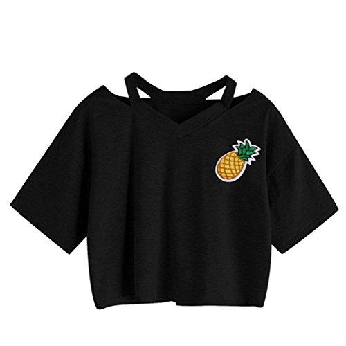 ❤️Femmes décontracté ananas réservoir imprimé à manches courtes Top Blouse Crop tops Tefamore Blanc