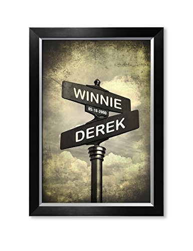 DECORARTS - Lovers Crossroads - Personalized Framed Arts Gift, Includes Names and The Special Date for The Wedding Anniversary. ()