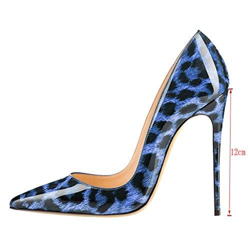 Décolleté Donna Punta Donna Tonda Blau con da EKS Alto Tacco da a Leopard BHwO1dBSqx