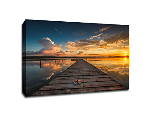 Dock Sunset (Dock at Sunset - Water Landscapes - 48x36 Gallery Wrapped Canvas Wall Art)
