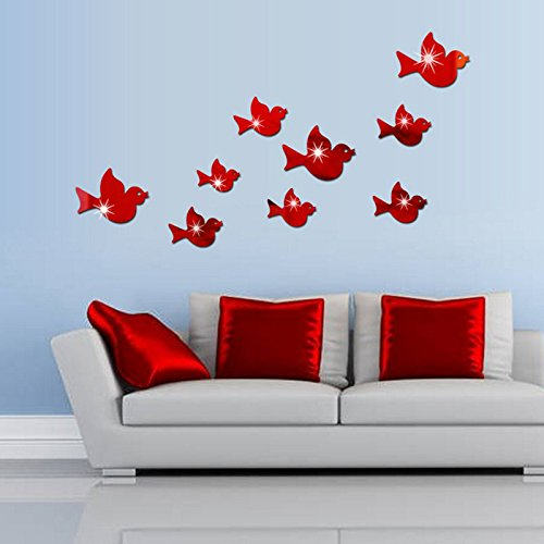 Ghaif Flying Bird mirror wall mount stereo posters on the wall in the living room sofa bedrooms are simply decorated animal sticker in red. by Ghaif