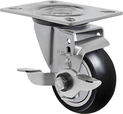 "Schioppa L12 Series, GL 312 NPE SL, 3 x 1-1/4"" Swivel Caster with Wheel Lock Brake, Non-Marking Polypropylene Precision Ball Bearing Wheel, 175 lbs, Plate 3-1/8 x 4-1/8"" (Bolt Holes 3-1/8 x 2-1/4"")"