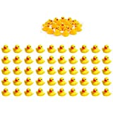 Sohapy 50Pcs Mini Yellow Rubber Ducks Baby Shower Rubber Ducks, Squeak Fun Baby Yellow Rubber Bath Toy Float Fun…