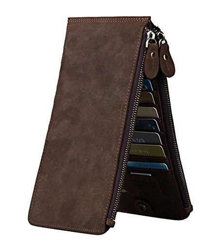Card 1 Package Multi New dark Folder Unisex Leather Brown Wallet High Capacity Genuine Leisure HopeEye Brown Money Card Leisure Slot Ttpqw