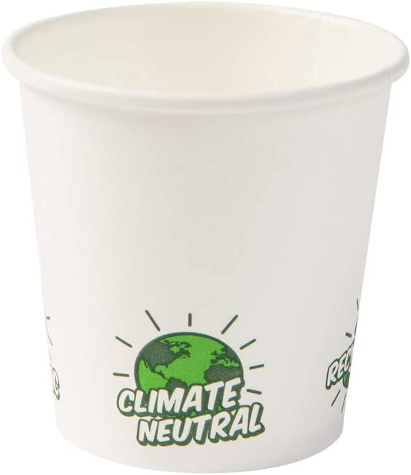 BIOZOYG Tazas Desechables Ecológico Bio degradables I Taza de Papel para Espresso Taza Blanca con EcoUp © Icon, Recubrimiento PLA I 50 Tazas para Bebidas de 100 ml 4 oz