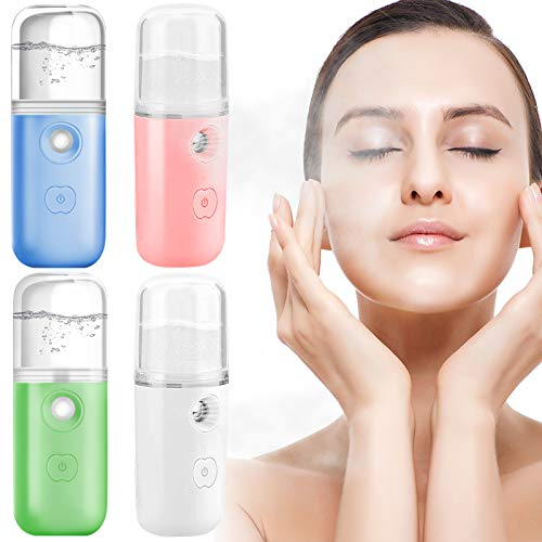 4 Pieces Nano Mist Sprayer, Portable Mini Face Mist Handy Sprayer USB Rechargeable, Nano Facial Mister for Skin Care Daily Makeup Facial Hydrating