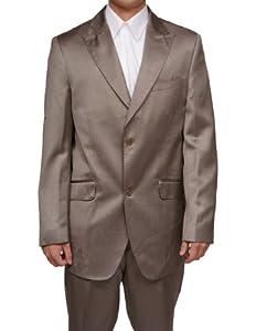 B0036WP1YO New Mens Tan / Beige Slim Fit Sharkskin 2 Button Dress Suit (Jacket & Pants)