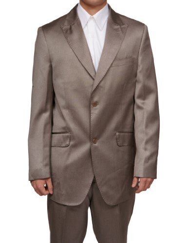 New Era Factory Outlet New Mens Tan/Beige Slim Fit Sharkskin 2 Button Dress Suit (Jacket & Pants)