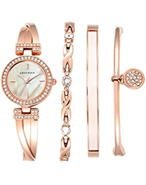 Rose Goldtone Crystal Bangle And Watch Set