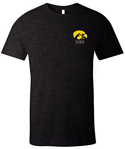 NCAA Iowa Hawkeyes Adult NCAA Simple Mascot Short sleeve Triblend T-Shirt,Small,Black