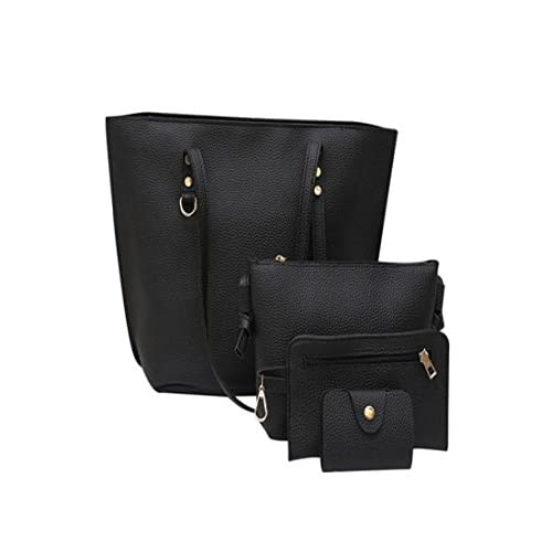 Cheap 4Pcs Women's Leather Shoulder Bag Rakkiss Litchi Pattern Bag Crossbody Bag Handbag Wallet Large Tote Satchel Tote free shipping