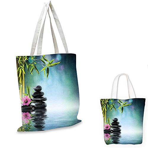 Zen Garden shopping tote bag Pink Flower Spa Stones and Bamboo Tree on the Water Relaxation Theraphy Peace canvas bag shopping Multicolor. 12