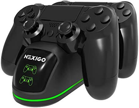 NexiGo PS4 Controller Charger, Wireless Charger Dual USB Fast Charging Dock for Sony Playstation 4 Controller, DualShock 4 Charging Station with LED Indicator, Black