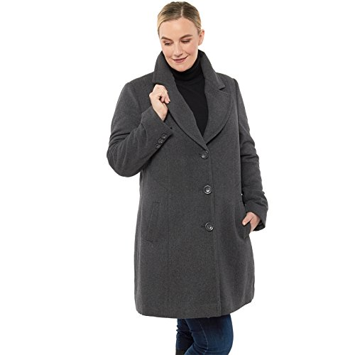 alpine swiss Women's Plus Size Wool Overcoat Classic Notch Lapel Walking Coat Gry 2XL