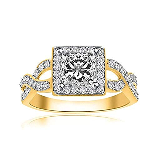 (14k Yellow Gold Over 925 Sterling Silver 1.00 Ct Princess Cut CZ Simulated Diamond Halo Engagement Ring Women)