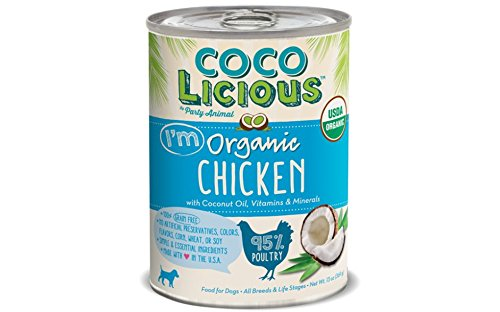Party Animal Cocolicious 95% Organic Chicken Canned Dog Food 13oz (Case of 12) by Party Animal