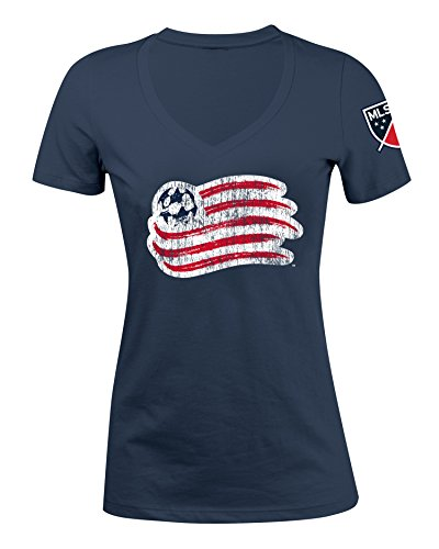 fan products of MLS New England Revolution Women's Jersey Short Sleeve V-Neck Tee, Navy, Large
