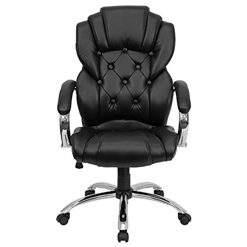Flash Furniture High Back Transitional Style Black Leather Executive Swivel Chair with Arms