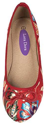 Satin Ballet Red Shoes Oriental Womens Dora Lora qAwx6RSUc