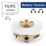 Avantree Priva IIA Bluetooth Transmitter, Dual Link aptX Low Latency for TV PC (3.5mm AUX, RCA, NOT Optical), Built-in Battery for Portable Use, Wireless Audio Adapter for Headphones