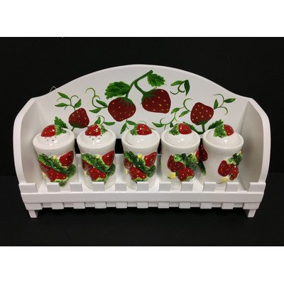 3-D Strawberry Ceramic 5-Spice Jars and Hanging Rack Set, 83544