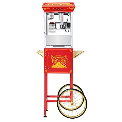 Great Northern Popcorn Red Good Time Popcorn Popper Machine Cart, 8 Ounce from Great Northern Popcorn Company