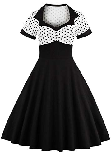 Sofkiny Women's 1950s Vintage Dress Polka Dot Cocktail Swing Dress with Short Sleeves ()