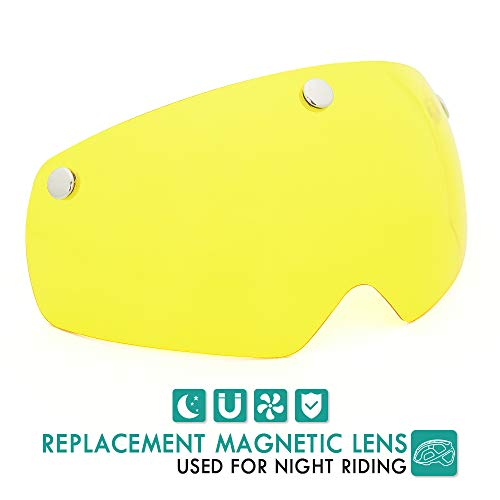 VICTGOAL Detachable Magnetic Bike Helmet Goggles Visor (Yellow)