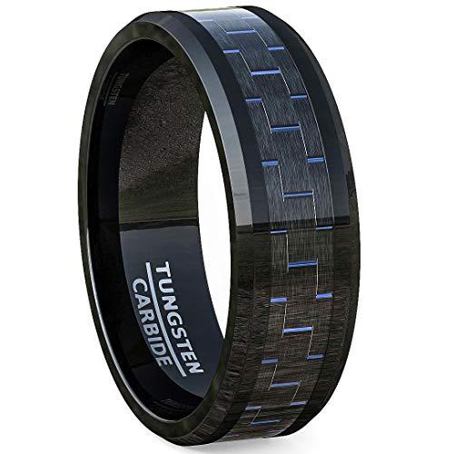 Duke Collections Mens Wedding Band 8mm Black Tungsten Ring Blue Carbon Fiber Beveled Edge Comfort Fit (11)
