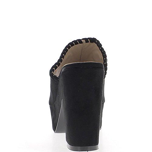 Sabots noirs à talons épais de 10,5cm et plateforme aspect daim ajourés