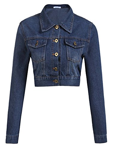 (Grabsa Women's Button Down Long Sleeve Cropped Denim Jean Jacket With Pockets,Purplish Blue Navy,Small)