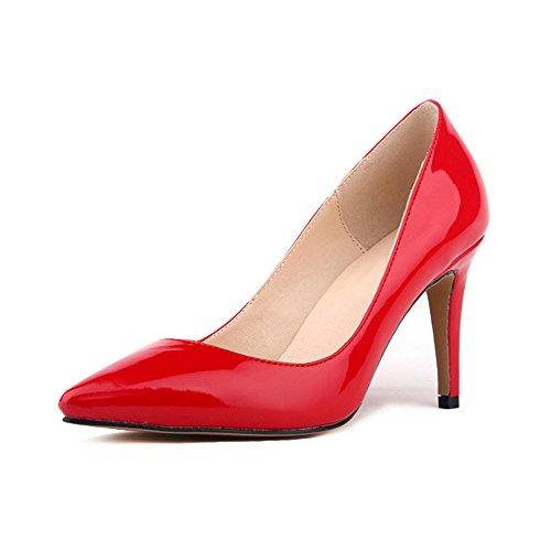 Ochenta mujer de la PU de cuero de patente los zapatos del partido de boda de la manera clasica Rojo