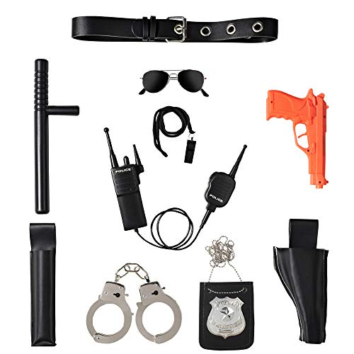 Ultimate All-In-One Police Accessory Role Play Set For Kids - Includes Gun, handcuffs, police badge and More, Durable Plastic Construction, Police Force Halloween Accessories For Kids -
