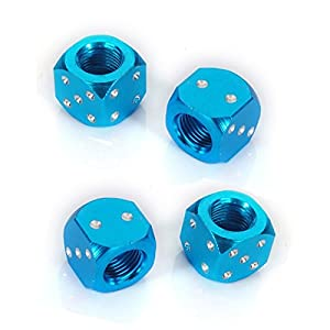 Dust Caps SODIAL(R)4x Metal Dice Bike Car Motorcycle ATV Tyre Tire Wheel Valve Dust Caps Covers Blue