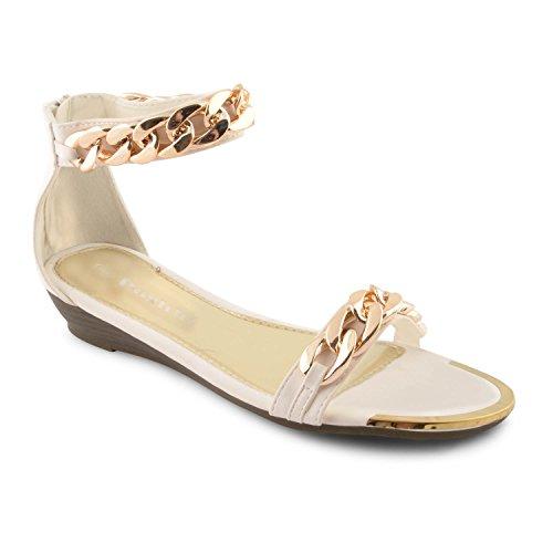 Sensation mujer Negro Footwear blanco con Cadena cremallera dorada 4dpdqFwB