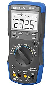 HOLDPEAK 760D Digital Auto-Ranging LCD Multimeter With Diode, hFE And Continuity Test – This Multi Tester is For Electronic Measurement With Data Hold And Backlight In School, Laboratory, Factory And Other Social Field, Blue/Black