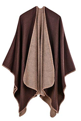 PinkWind Women's Autumn Poncho Cashmere Shawl Wrap Cardigan Coat Coffee One Size