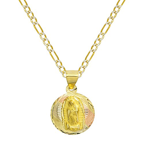 Pyramid Jewelry 14K Tri Color Gold Virgin Mary Guadalupe Charm Pendant Necklace (20 Inches, White Pave Figaro Chain)