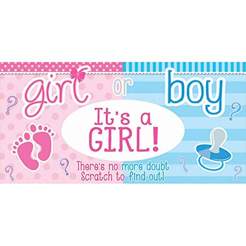 (Forum Novelties 79853 Gender Reveal Announcement Scratch Off Ticket It's A Girl! Lotto Tix, One Size, Multicolor)