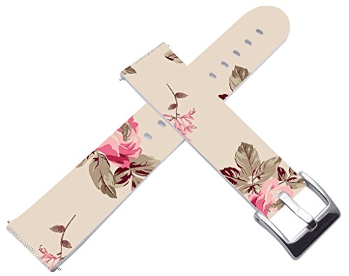 (Bands for Asus Zenwatch 2 1.45 & 18mm Leather Watch Band Quick Release for Huawei Watch for Huawei Fit Honor S1 for Withings Activité Activite Pop Steel for LG Watch Style Red Retro Floral)