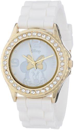 Disney Women's Rhinestone Accent Minnie Mouse Rubber Strap Watch White MN1053