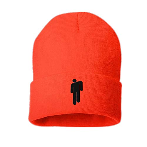 - Billie Eilish Merch Hot Topic Logo Beanie Knit Hat Stretchy Cap for Men Women (Orange)