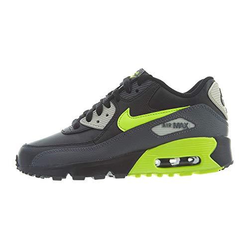 (Nike 833412-023: Big Kids' Air Max 90 Leather Shoes Dark Grey/Volt Black Sneaker (7 M US Big Kid))